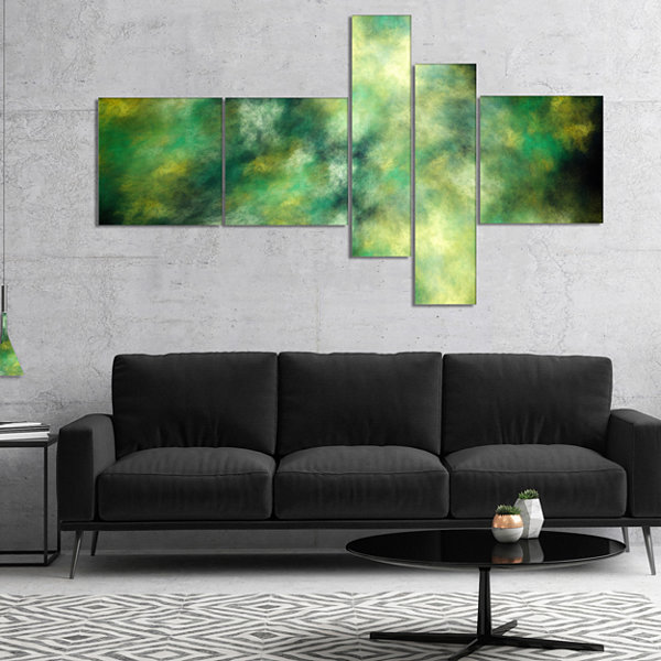 Designart Perfect Green Starry Sky Multipanel Abstract Canvas Wall Art - 4 Panels