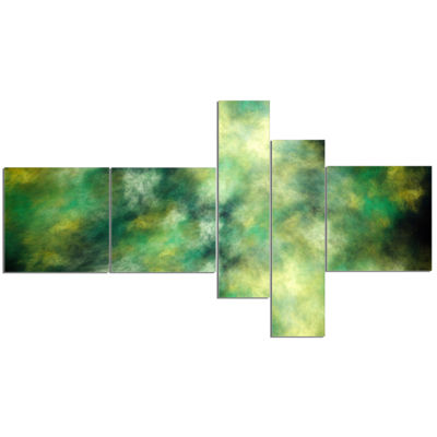 Designart Perfect Green Starry Sky Multipanel Abstract Canvas Wall Art - 5 Panels