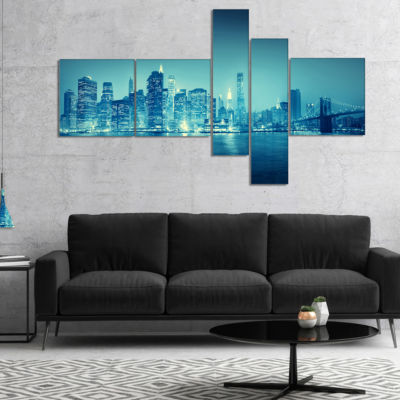 Designart Blue New York At Night Multipanel Cityscape Digital Art Canvas Print - 5 Panels