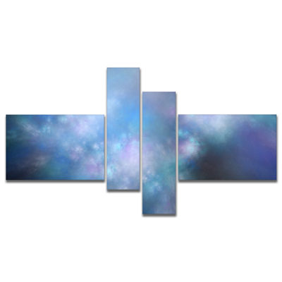Designart Perfect Light Blue Starry Sky MultipanelAbstract Canvas Art Print - 4 Panels