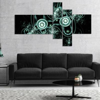 Designart Blue On Black 3D Surreal Design Multipanel Abstract Canvas Art Print - 4 Panels