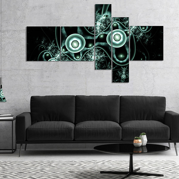 Designart Blue On Black 3D Surreal Design Multipanel Abstract Canvas Art Print - 4 Panels