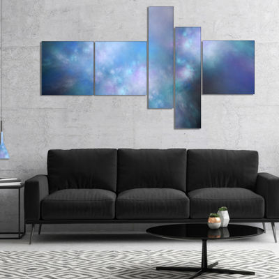 Designart Perfect Light Blue Starry Sky MultipanelAbstract Canvas Art Print - 5 Panels