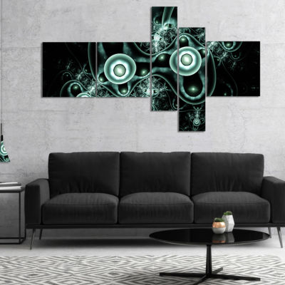 Designart Blue On Black 3D Surreal Design Multipanel Abstract Canvas Art Print - 5 Panels