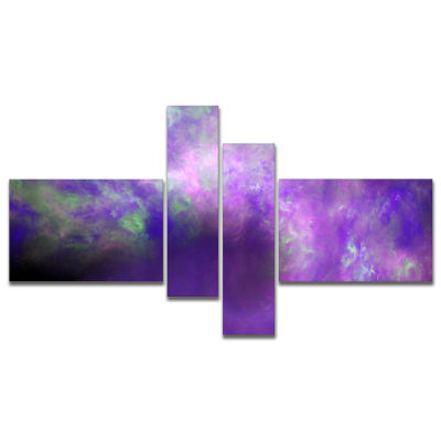 Designart Perfect Light Purple Starry Sky Multipanel Abstract Canvas Art Print - 4 Panels