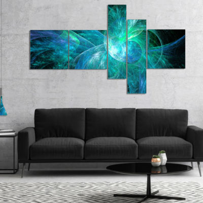 Designart Blue On Black Fractal Illustration Multipanel Abstract Canvas Art Print - 5 Panels