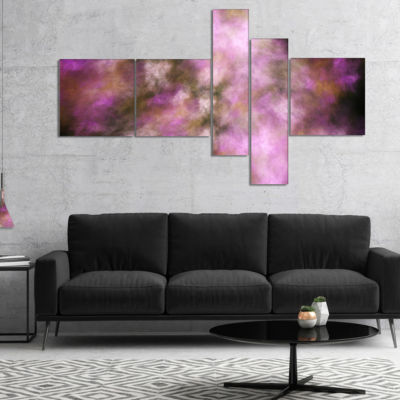 Designart Perfect Pink Starry Sky Multipanel Abstract Canvas Art Print - 5 Panels