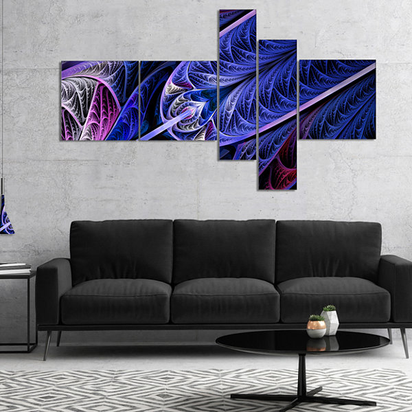 Designart Blue On Black Fractal Stained Glass Multipanel Abstract Wall Art Canvas - 5 Panels