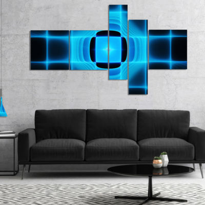 Designart Blue On Black Thermal Infrared Visor Multipanel Abstract Canvas Art Print - 4 Panels