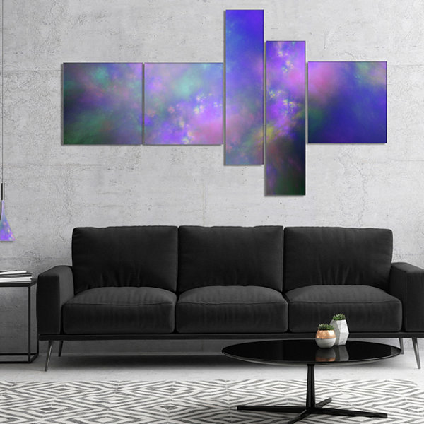 Designart Perfect Purple Starry Sky Multipanel Abstract Canvas Wall Art - 5 Panels