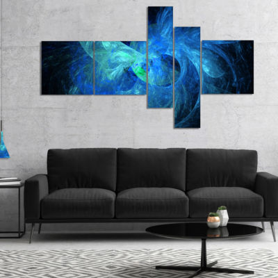 Design Art Blue On Dark Fractal Illustration Multipanel Abstract Canvas Art Print - 4 Panels