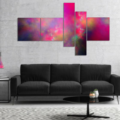 Designart Perfect Red Starry Sky Multipanel Abstract Canvas Art Print - 5 Panels