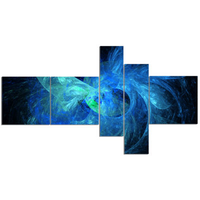 Designart Blue On Dark Fractal Illustration Multipanel Abstract Canvas Art Print - 5 Panels