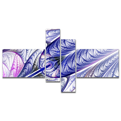 Designart Blue On White Fractal Stained Glass Multipanel Abstract Wall Art Canvas - 4 Panels