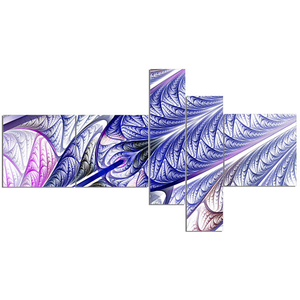 Designart Blue On White Fractal Stained Glass Multipanel Abstract Wall Art Canvas - 5 Panels
