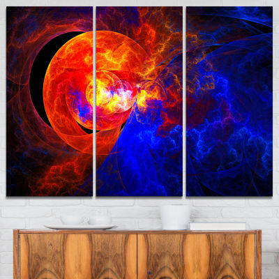 Designart Sunrise On A Distant Planet Abstract Canvas Art Print - 3 Panels
