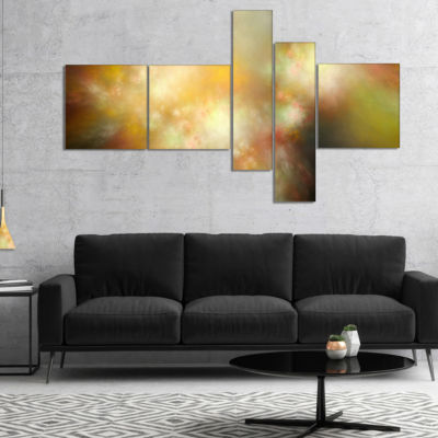 Designart Perfect Yellow Green Starry Sky Multipanel Abstract Canvas Art Print - 5 Panels