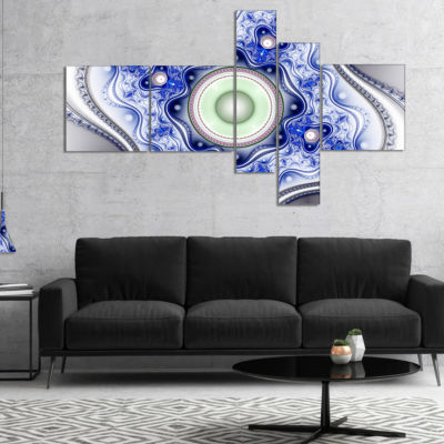 Designart Blue On White Pattern With Circles Multipanel Abstract Canvas Wall Art - 5 Panels