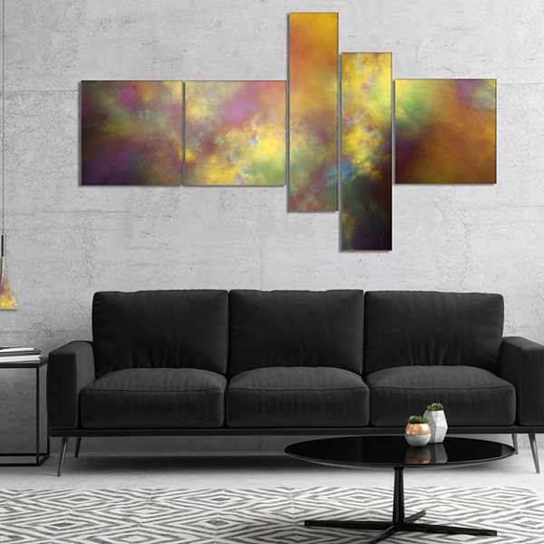 Designart Perfect Yellow Starry Sky Multipanel Abstract Canvas Art Print - 4 Panels