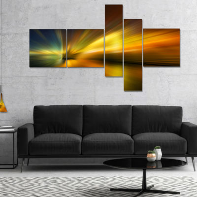 Designart Blue Over Gold Texture Multipanel Abstract Canvas Art Print - 5 Panels