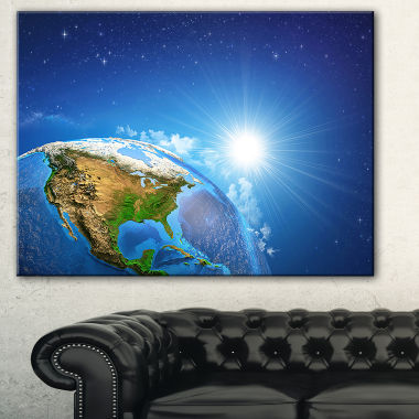 Designart Sunrise Over The Earth Landscape Abstract Canvas Artwork