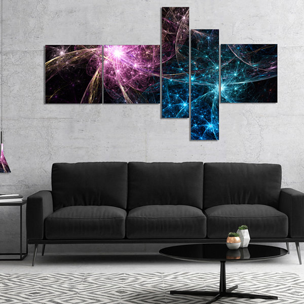 Designart Blue Pink Colorful Fireworks MultipanelAbstract Art On Canvas - 4 Panels