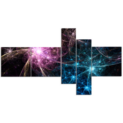 Designart Blue Pink Colorful Fireworks MultipanelAbstract Art On Canvas - 5 Panels