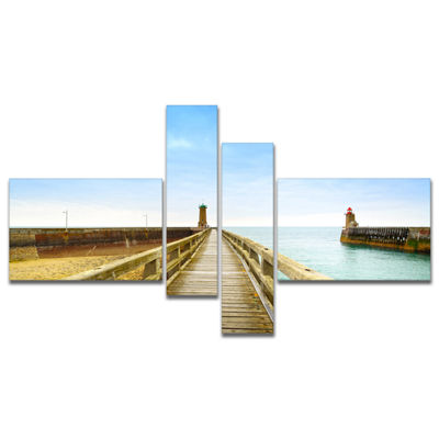 Designart Pier And Lighthouse France Multipanel Seascape Canvas Art Print - 4 Panels