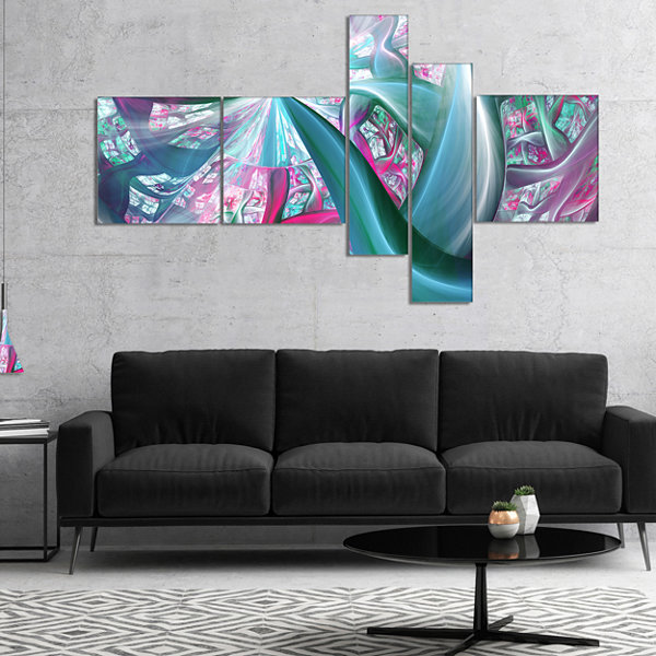 Designart Blue Pink Fractal Plant Stems MultipanelAbstract Canvas Art Print - 4 Panels