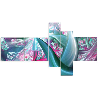 Designart Blue Pink Fractal Plant Stems MultipanelAbstract Canvas Art Print - 5 Panels