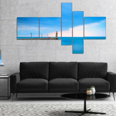 Designart Pier And Lightour In Sunset MultipanelSeascape Canvas Art Print - 5 Panels