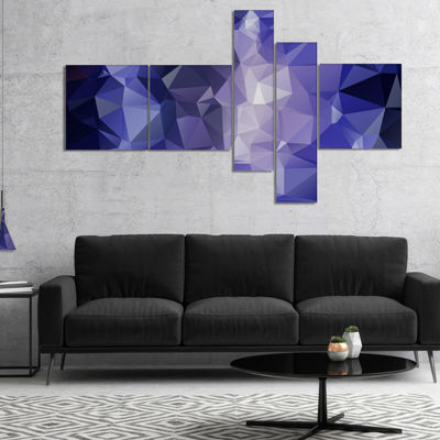 Designart Blue Polygonal Mosaic Pattern MultipanelAbstract Canvas Art Print - 4 Panels