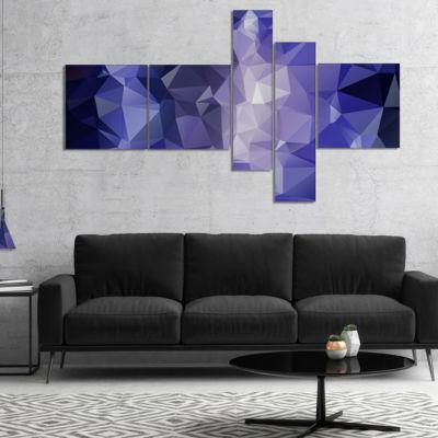 Designart Blue Polygonal Mosaic Pattern MultipanelAbstract Canvas Art Print - 5 Panels