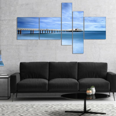 Designart Pier Infinite To Blue Sea Multipanel Seascape Canvas Art Print - 5 Panels