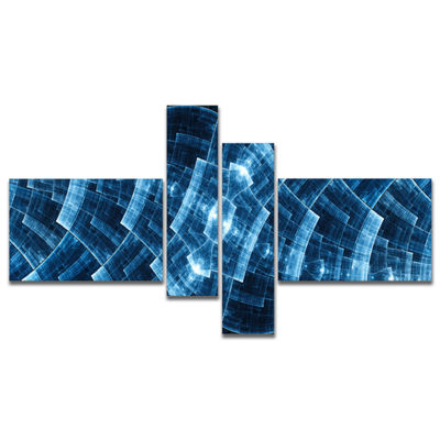 Designart Blue Protective Metal Grids MultipanelAbstract Canvas Art Print - 4 Panels