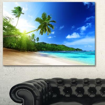 Designart Sunset Beach With Palm Landscape Photography Canvas Art Print