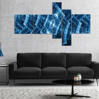 Designart Blue Protective Metal Grids MultipanelAbstract Canvas Art Print - 5 Panels