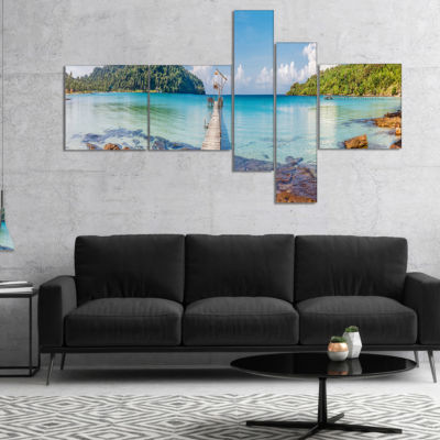 Designart Pier To The Island Panorama MultipanelLandscape Photography Canvas Print - 5 Panels