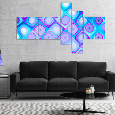 Designart Blue Purple Pattern With Swirls Multipanel Abstract Wall Art Canvas - 4 Panels