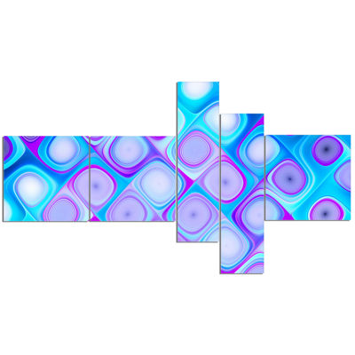 Designart Blue Purple Pattern With Swirls Multipanel Abstract Wall Art Canvas - 5 Panels