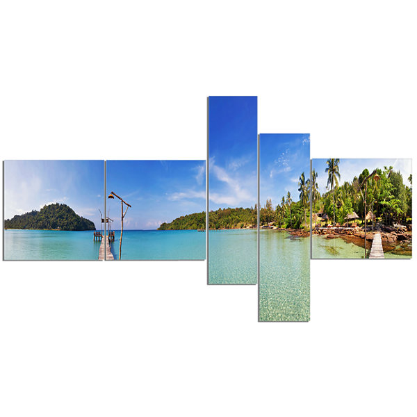 Designart Piers And Palm Trees On Island Multipanel Landscape Photography Canvas Print - 5 Panels