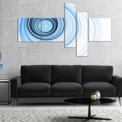 Designart Blue Radio Waves Multipanel Abstract Canvas Art Print - 4 Panels
