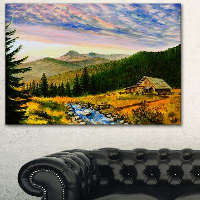 Designart Sunset In Mountains Landscape Art Wall Art Print - 3 Panels
