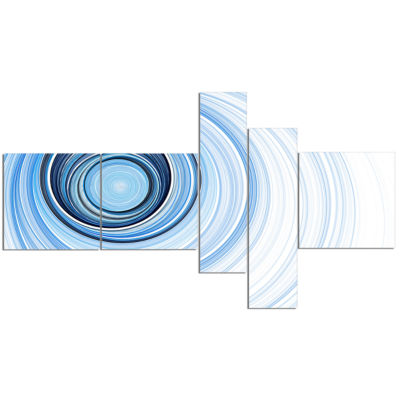 Design Art Blue Radio Waves Multipanel Abstract Canvas Art Print - 5 Panels
