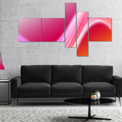 Designart Pink Abstract Curved Lines Multipanel Abstract Canvas Art Print - 5 Panels