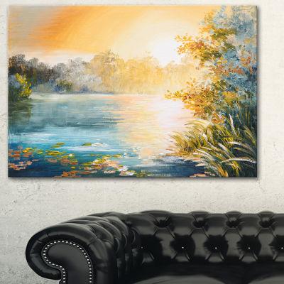 Designart Sunset On The Lake Landscape Art Print Canvas