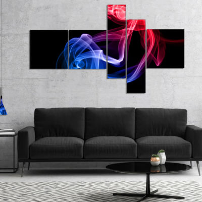 Designart Blue Red Floating Smoke On Black Multipanel Abstract Canvas Wall Art - 5 Panels
