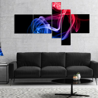 Designart Blue Red Floating Smoke On Black Multipanel Large Abstract Canvas Wall Art - 4 Panels