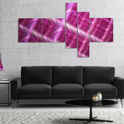 Design Art Pink Abstract Metal Grill Multipanel Abstract Art On Canvas - 5 Panels