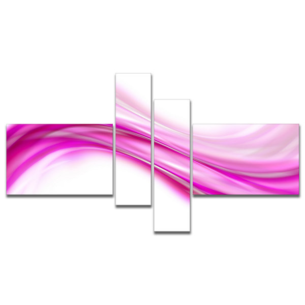 Designart Pink Abstract Waves Multipanel AbstractCanvas Art Print - 4 Panels